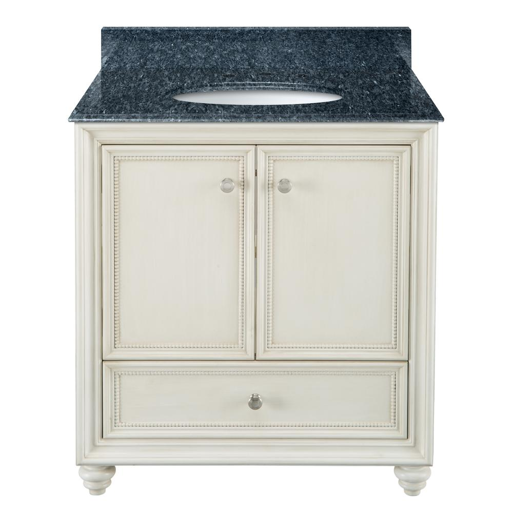 Home Decorators Collection Dellwood 31 in. W x 22 in. D Bath Vanity in Antique White with Granite Vanity Top in Blue Pearl with White Sink