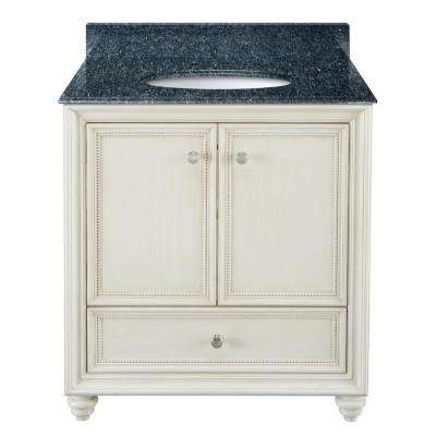 Dellwood 31 in. W x 22 in. D Bath Vanity in Antique White with Granite Vanity Top in Blue Pearl with White Sink