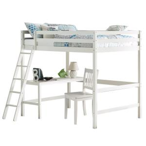 Caspian White Full Loft With Chair