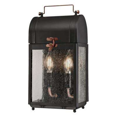 Mulberry 2-Light Matte Black with Washed Copper Accents Outdoor Wall Mount Lantern