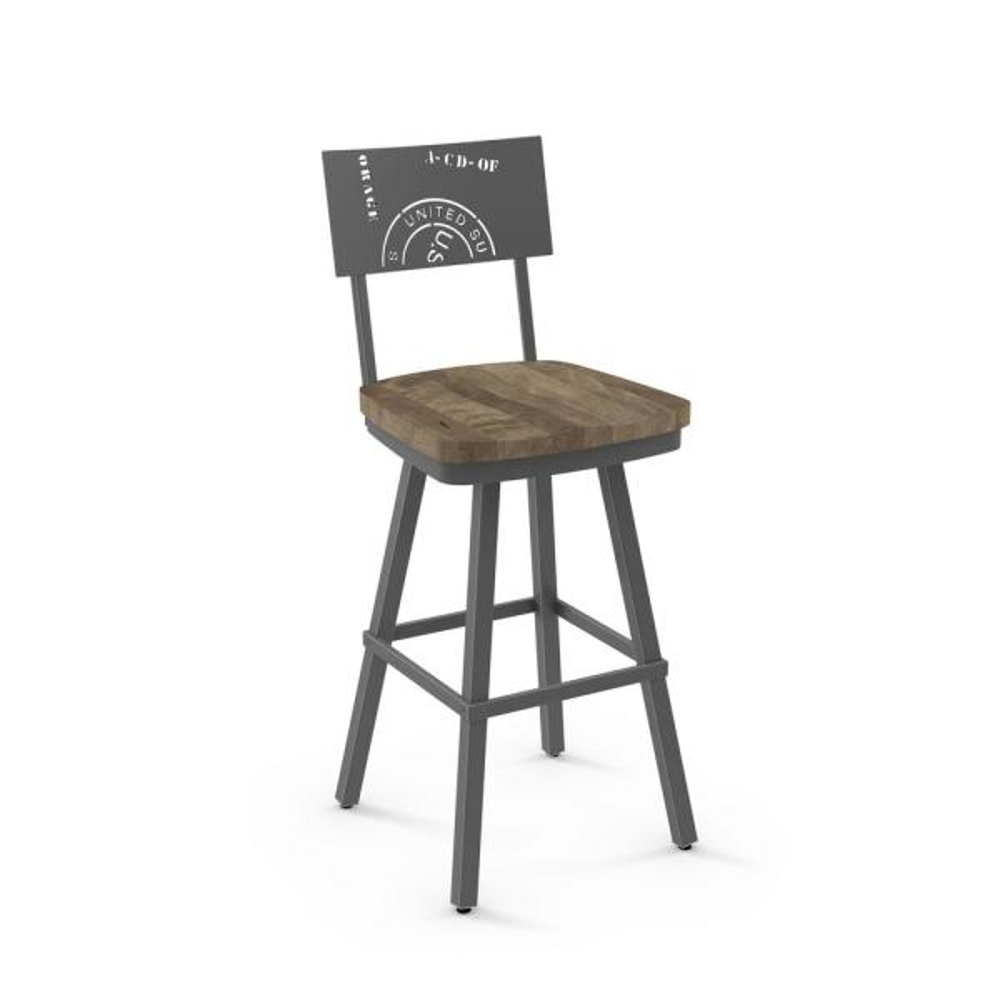 Jamerson 26 in. Grey Metal Beige Wood Counter Stool 41250-26/5786