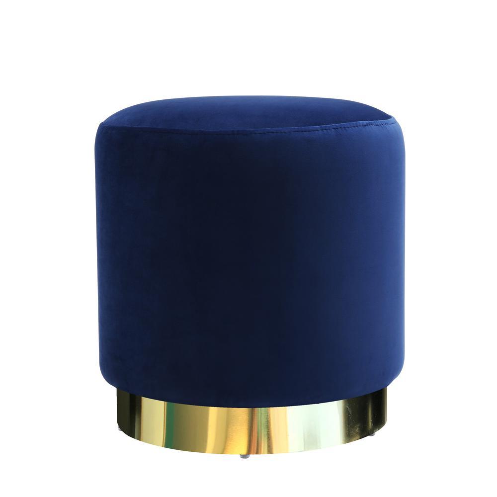 Siri Blue Velvet Ottoman