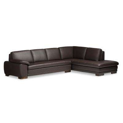 Diana 2-Piece Contemporary Brown Faux Leather Upholstered Right Facing Chase Sectional Sofa