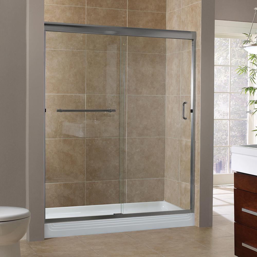 Install Sliding Door Bathroom: Foremost Marina 60 In. X 76 In. H Semi-Framed Sliding