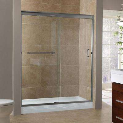 Marina 60 in. x 76 in. H Semi-Framed Sliding Shower Door in Brushed Nickel with 3/8 in. Clear Glass