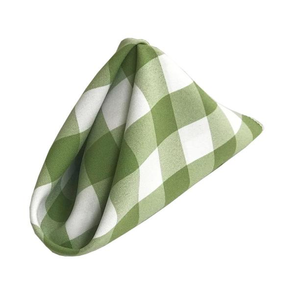 LA Linen 18 in. x 18 in. White and Apple Gingham