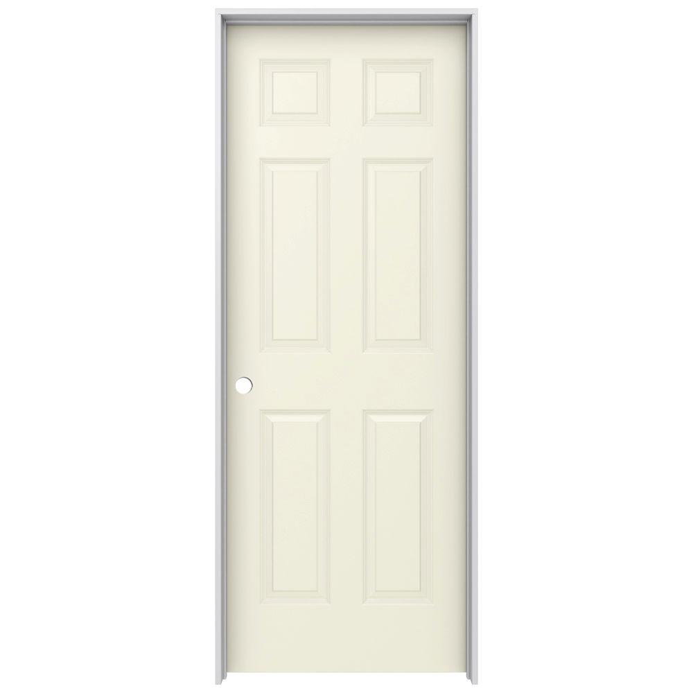 30 in. x 80 in. Colonist Vanilla Painted Right-Hand Smooth Molded