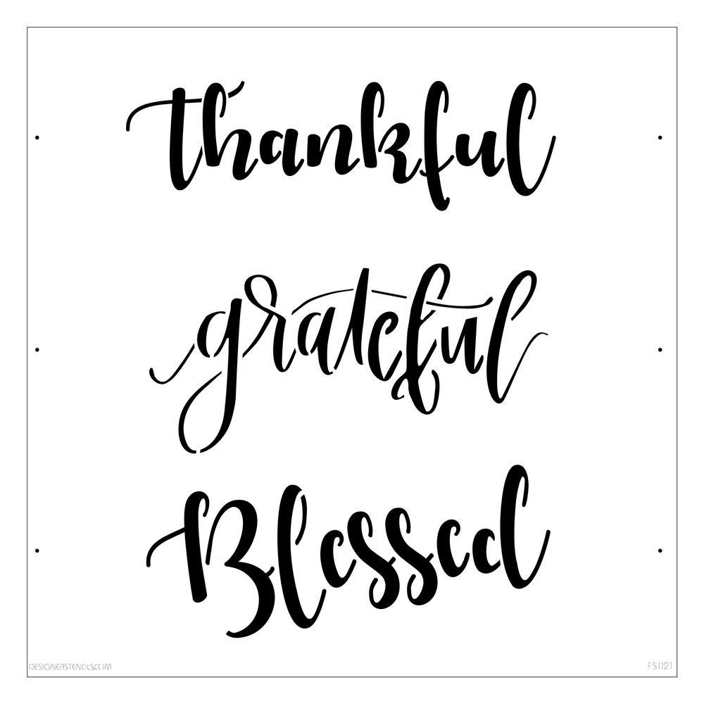 Designer Stencils Thankful Grateful Blessed Lettering Stencil