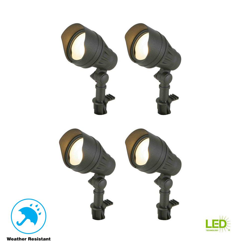 Hampton Bay Low-Voltage 50-Watt Equivalent Black Outdoor Integrated LED  Landscape Flood Light (4-Pack)