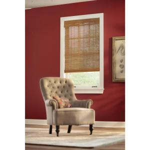 Honey Bamboo Weave Roman Shade - 63.5 in. W x 48 in. L