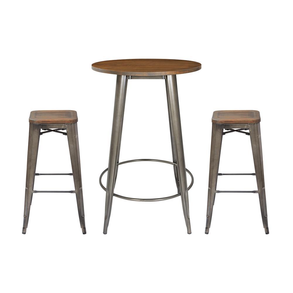 Astounding Osp Home Furnishings Indio Round Pub Table And 2 Bar Stool Ibusinesslaw Wood Chair Design Ideas Ibusinesslaworg