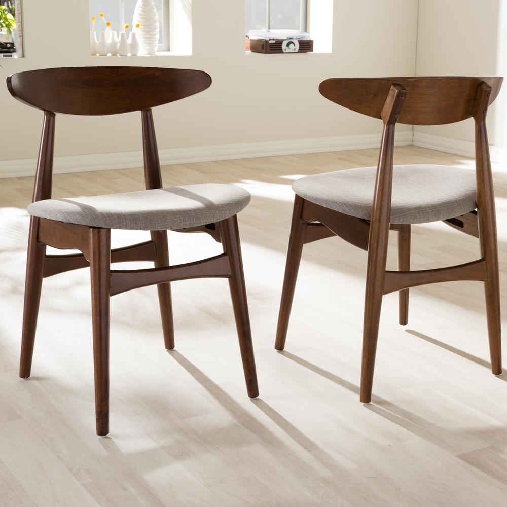 Flora Gray Fabric and Medium Brown Wood Dining Chairs (Set of
