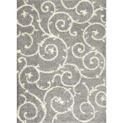 Soft Cozy Contemporary Scroll Light Gray/White 3 ft. 3 in. x 5 ft. Indoor Shag Area Rug