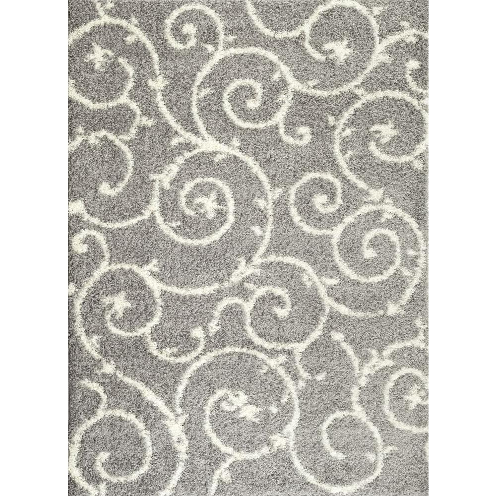 Superieur World Rug Gallery Soft Cozy Contemporary Scroll Light Gray/White 8 Ft. X 10  Ft. Indoor Shag Area Rug 2323 L.Gray 8x10   The Home Depot
