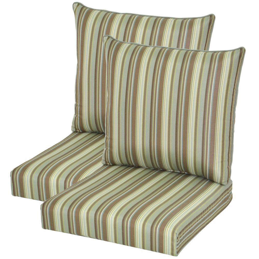 Hampton Bay Spa Stripe Pillow Back Outdoor Deep Seating Cushion (2-Pack)-DISCONTINUED