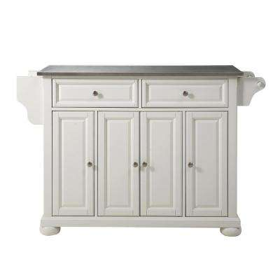 Alexandria White Kitchen Island with Stainless Steel Top