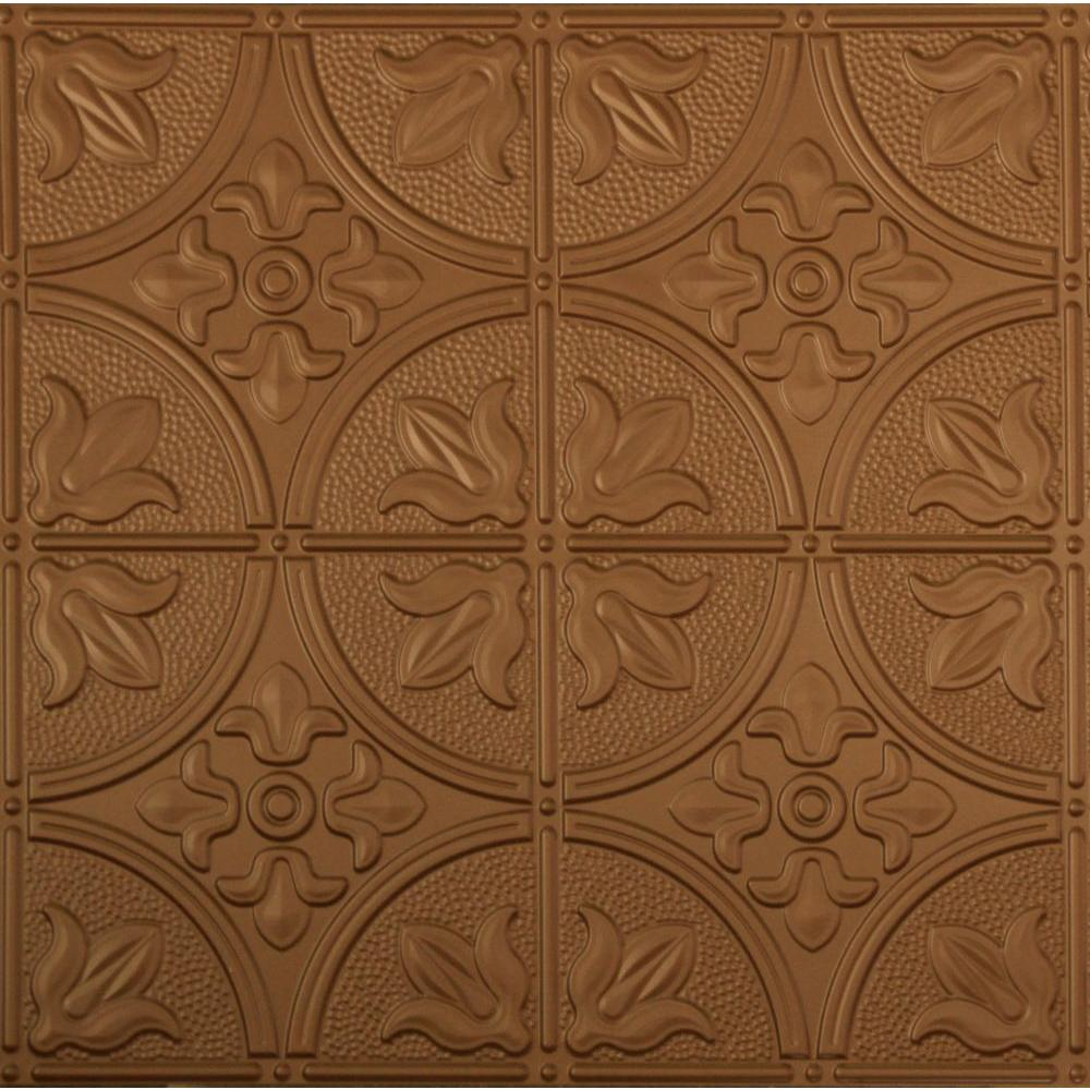 Global Specialty Products Dimensions 2 ft. x 2 ft. Aged Copper Tin Ceiling Tile for Refacing in T-Grid Systems