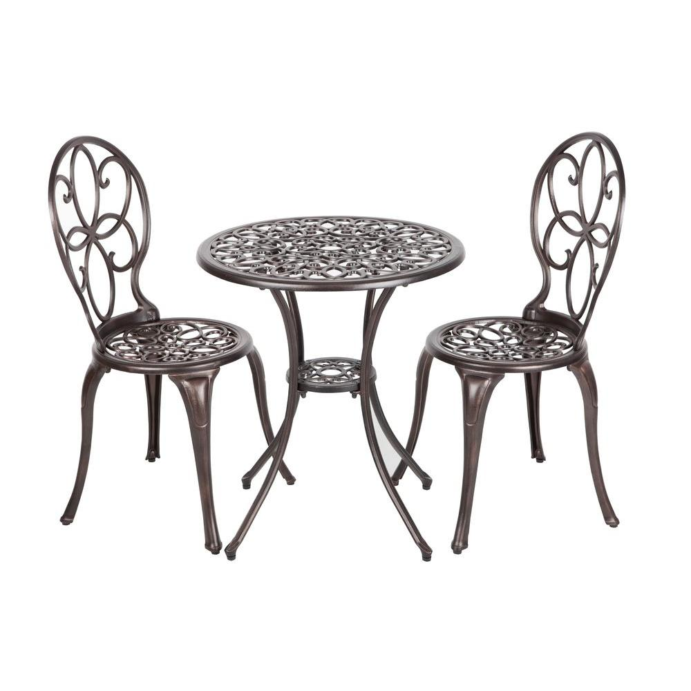 Patio sense arria antique bronze 3 piece cast aluminum for Metal patio table and chairs set