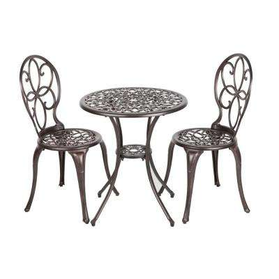 Arria Antique Bronze 3 Piece Cast Aluminum Patio Bistro Set