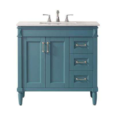 Catania 36 in. Bath Vanity in Green with Marble Vanity Top in White with White Basin