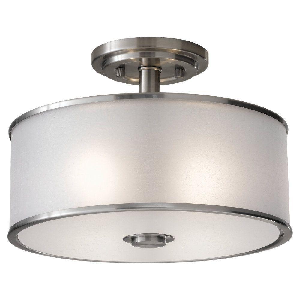Casual Luxury 2-Light Brushed Steel Semi-Flush Mount