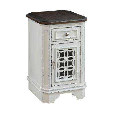 Cottage Row White 1-Door 1-Drawer Chairside Cabinet