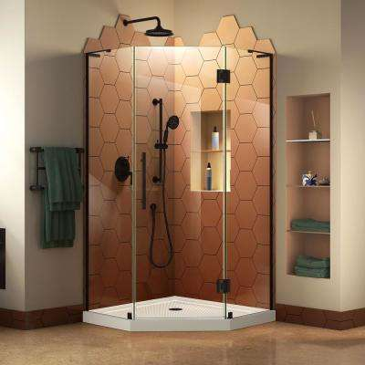 Prism Plus 38 in. x 38 in. x 74.75 in. Semi-Frameless Neo-Angle Hinged Shower Enclosure in Satin Black with Shower Base