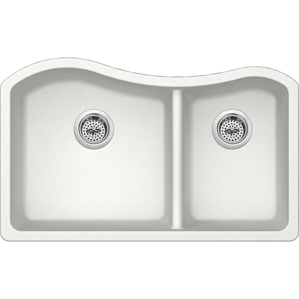 Undermount Granite Composite 32-1/2 in. 60/40 Double Bowl Kitchen Sink in Alpine White