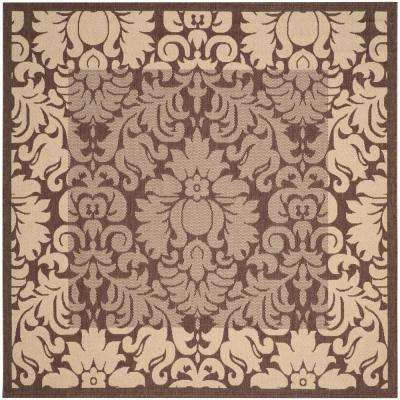 Courtyard Chocolate/Natural 8 ft. x 8 ft. Indoor/Outdoor Square Area Rug