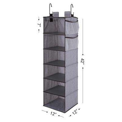 6-Shelf Gray Polyester Hanging Closet Organizer with Side Pockets