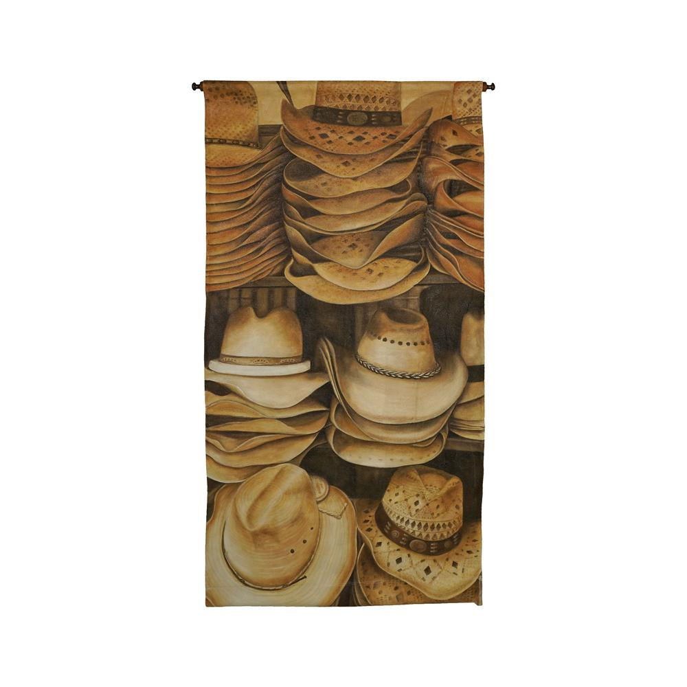 "Brown and Tan ""Stacked Cowboy Hats"" Wall Tapestry"