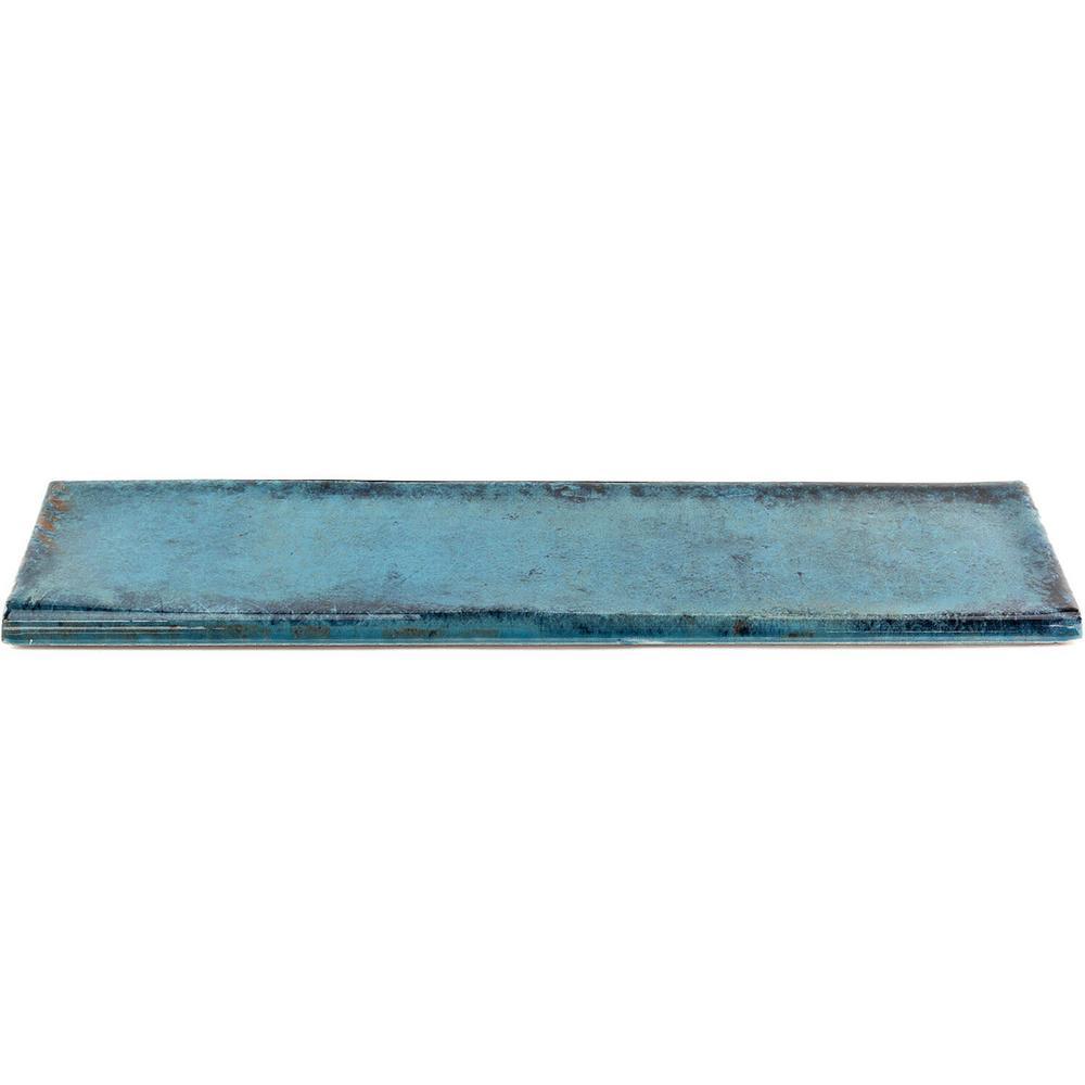 Moze Blue 3 in. x 12 in. Ceramic Bullnose Trim