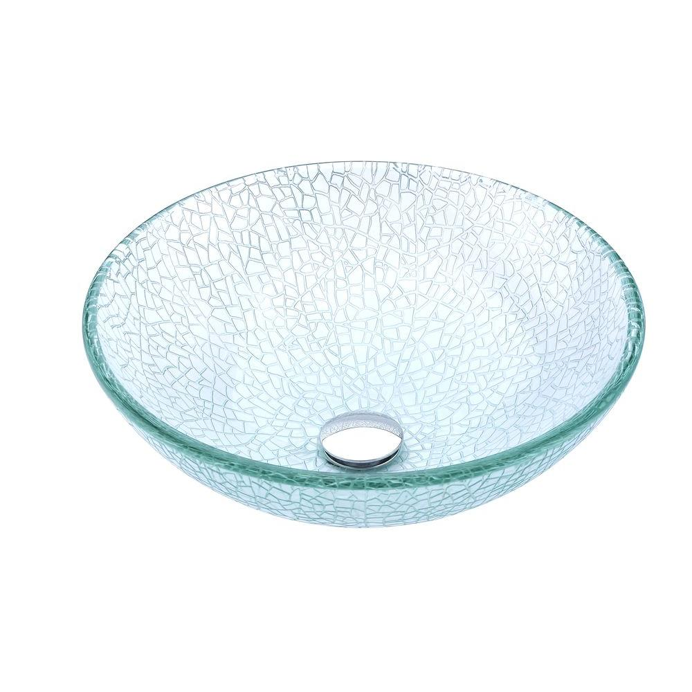 Choir Series Deco-Glass Vessel Sink in Crystal Clear Mosaic with Matching