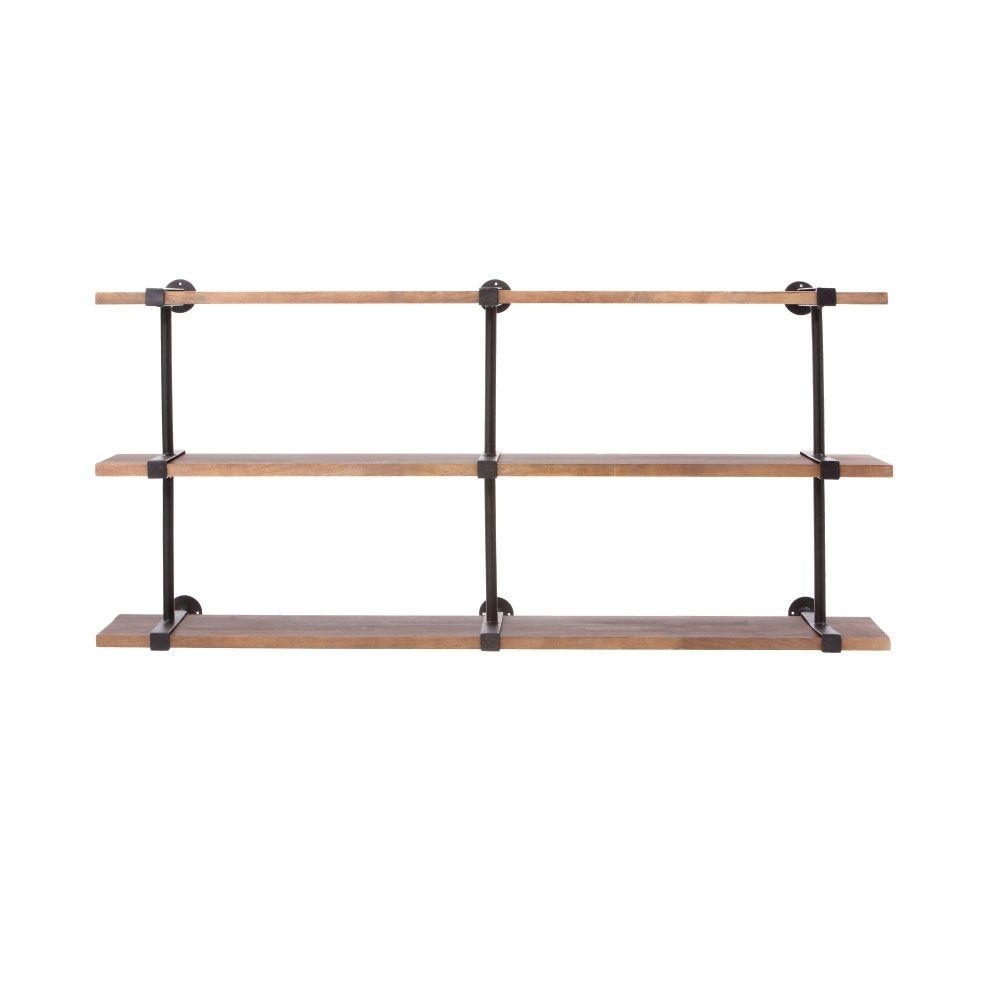 Home Decorators Collection Studio Craft 60 in. W x 16.5 in. D Weathered Black Decorative Shelf