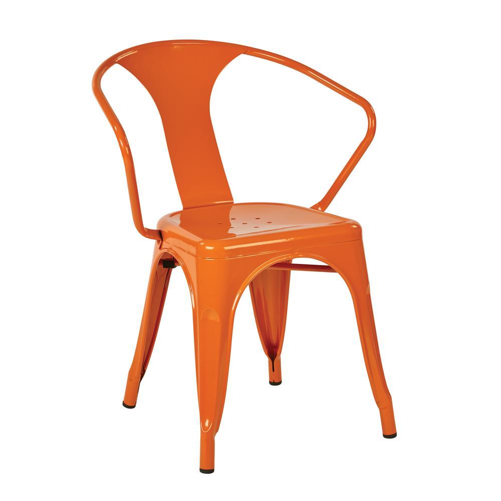 Patterson Orange Metal Chair (Set of 2)