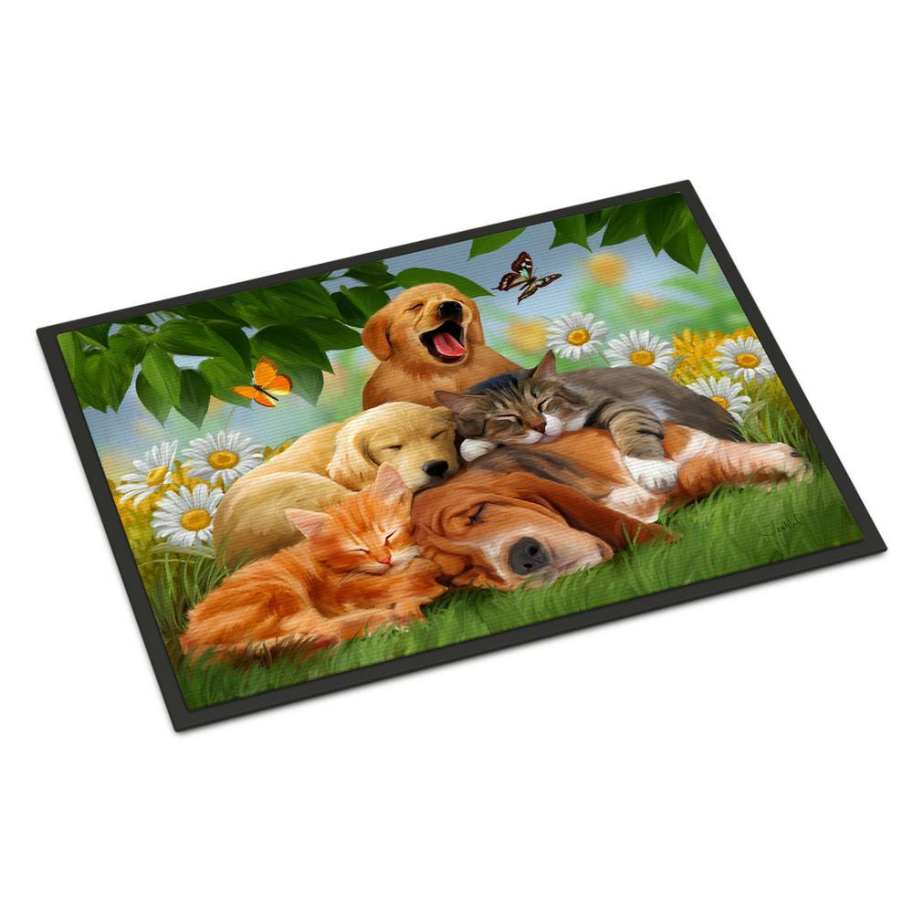 18 in. x 27 in. Indoor/Outdoor Golden Retriever, Labrador and Basset Hound Sleepy Heads Door Mat