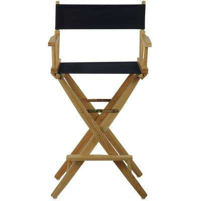 Extra-Wide Natural Frame/Navy Canvas American Hardwood 30 in. Directors Chair