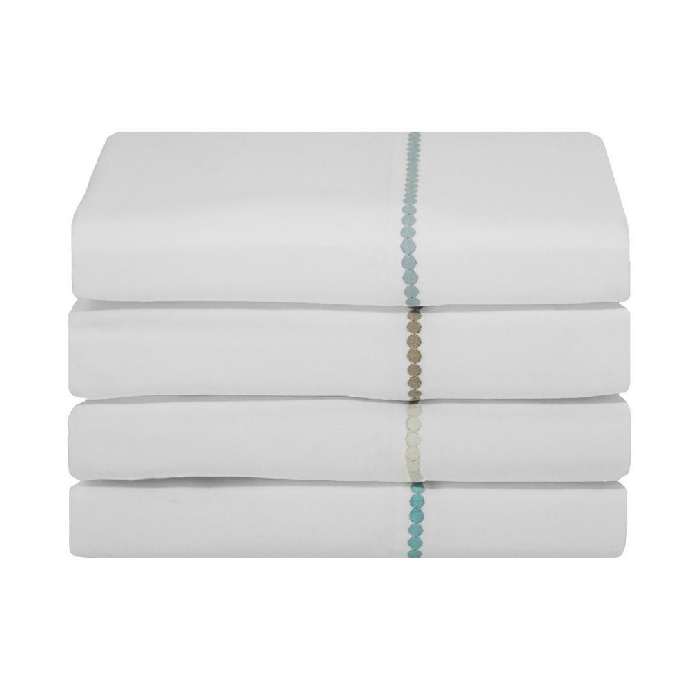 Highlights 400 Thread Count White Light Blue Cotton Dot Cuff Dot Queen Sheet Set