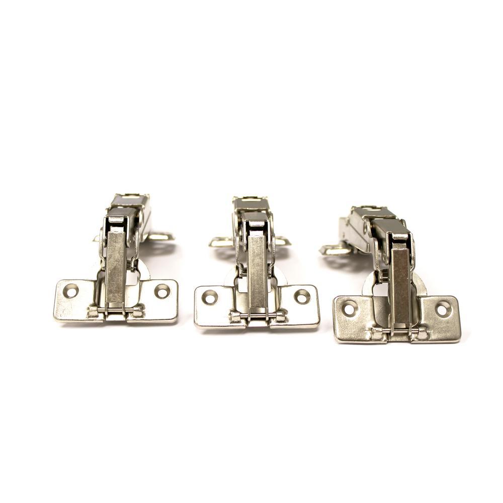 Everbilt 2 58 in  x 2 in  Nickel 165-Degree Full Overlay Soft/Self Close  Frameless Hinge (50-Pack)