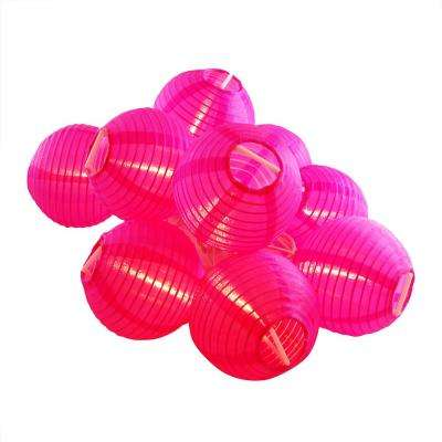 Nylon Lantern String Lights in Fuchsia
