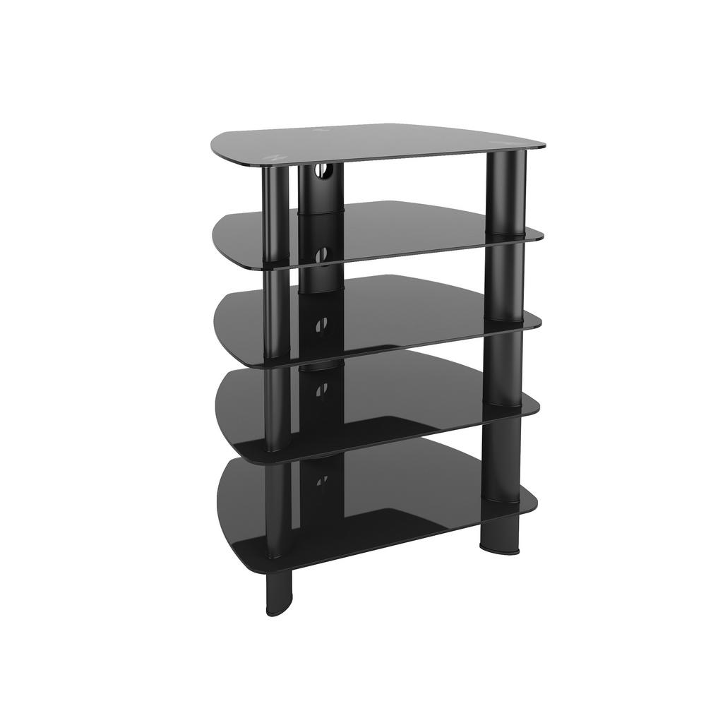 Furniture For Tv Components: CorLiving Laguna Satin Black Glass Component Stand-TRL-801