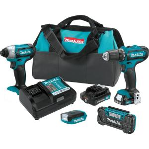 Makita 12-Volt Max CXT Lithium-Ion Cordless Combo Kit (4-Piece) Driver-Drill/Impact Driver/Flashlight/Radio... by Makita