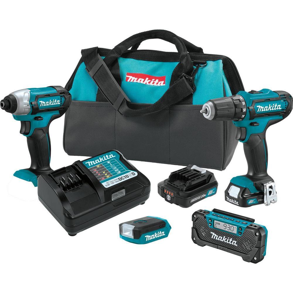 12-Volt max CXT Lithium-Ion Cordless Combo Kit (4-Piece) Driver-Drill/Impact Driver/Flashlight/Radio w/(2)Batteries(2Ah)