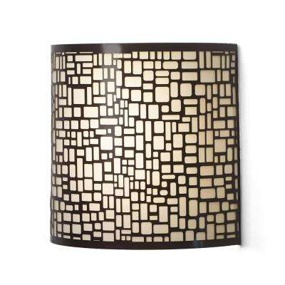 London Barrel Sconce Indoor Battery Operated Integrated LED Wall Sconce with Candle Flicker Mode and Brown/Beige Shade