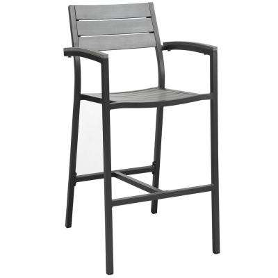 Maine Aluminum Outdoor Bar Stool in Brown Gray