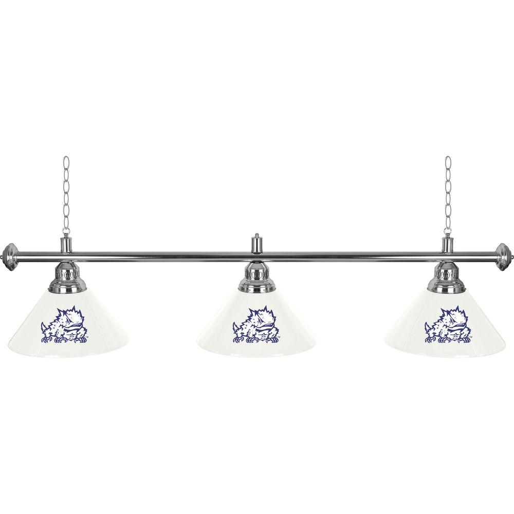null Texas Christian University 60 in. Three Shade Stainless Steel Hanging Billiard Lamp