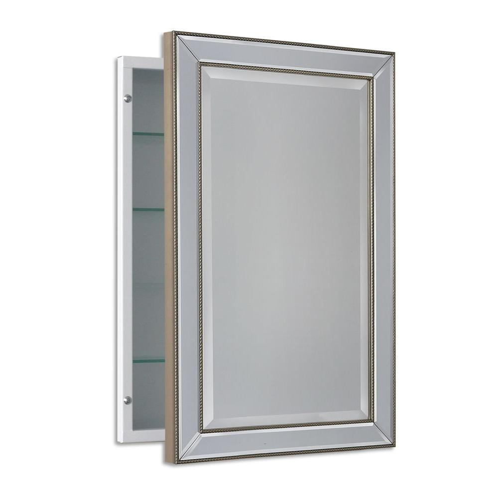 Deco Mirror 16 In W X 26 In H X 5 In D Framed Single Door Recessed Metro Beaded Bathroom