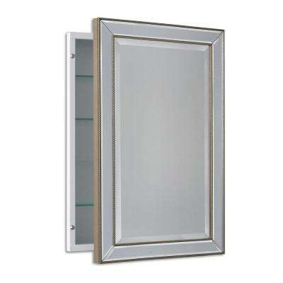 16 in. W x 26 in. H x 5 in. D Framed Single Door Recessed Metro Beaded Bathroom Medicine Cabinet in Silver