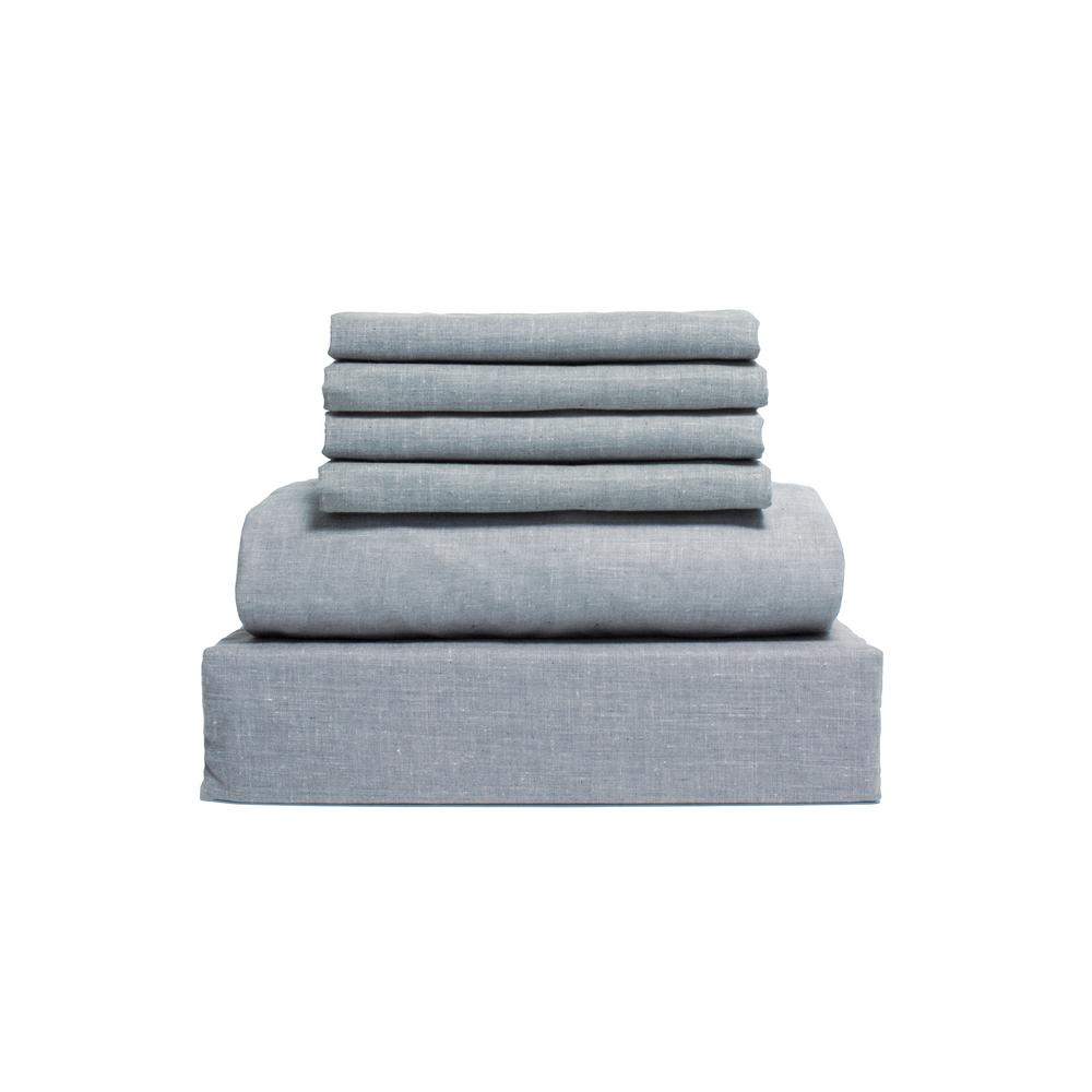 Chambray 6-Piece Light Blue Cotton/Polyester King Sheet Set
