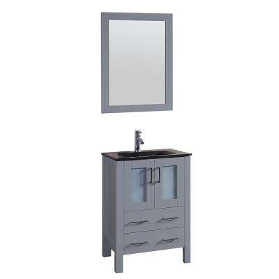 24 in. W Single Bath Vanity with Tempered Glass Vanity Top in Black with Black Basin and Mirror
